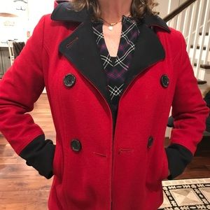 Red and Black Peacoat